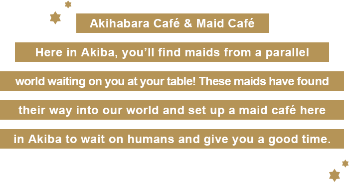 Here in Akiba, you'll find maids from a parallel world waiting on you at your table! These maids have found their way into our world and set up a maid café here in Akiba to wait on humans and give you a good time.